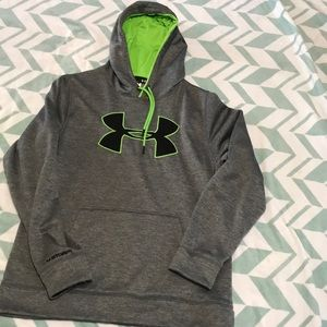 Gray, black and lime green under armour hoodie